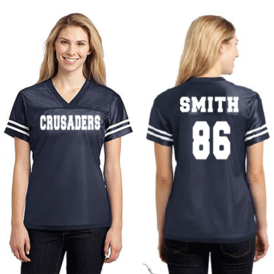 Ladies Navy Fan Jersey White Text