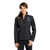 Ladies Eddie Bauer Grey/Black Ripstop Soft Shell