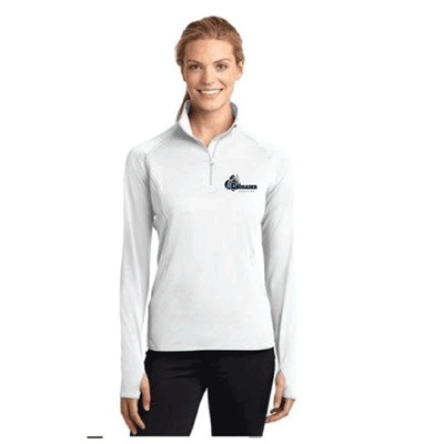 Sport-Tek® Ladies Sport-Wick® Textured 1/4-Zip Pullover- WHITE