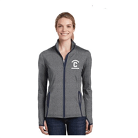 Sport-Tek® Ladies Sport-Wick® Stretch Contrast Full-Zip Jacket Grey/Navy