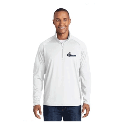 Mens WHITE Sport-Tek® Sport-Wick Stretch 1/2 Zip