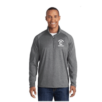 Mens GREY Sport-Tek® Sport-Wick Stretch 1/2 Zip