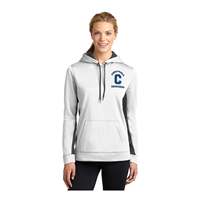Ladies Dry-Fit Style White/Dark Grey Hoodie